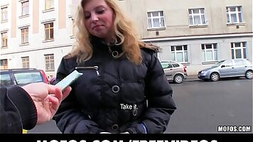 Blonde mom spits for cash in public
