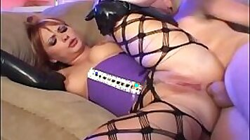 Redhead Julia got covered in latex and fucked hard!