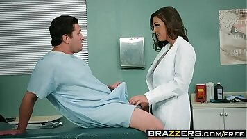 A naughty doctor fucks Abigail Mac and her friend on bed