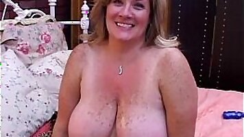 Bigtit BBW drinking cum from her dildo and fucked in her mature cunt