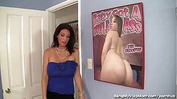 Busty stepmom Lauryn covered with a big cock