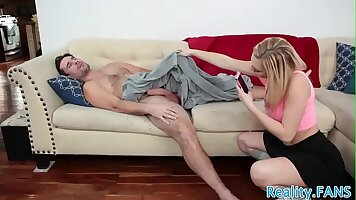 Fat Stepdaughter squirts on her Manfriends cock