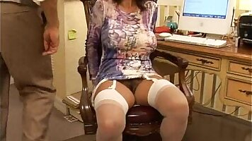 Brunette bitch with big tits doggystyled in the office