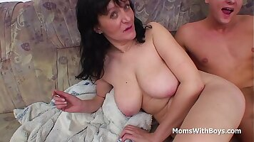 Busty mom with son catches dude suck cock