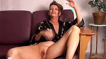 Amazing busty coed touching a slippery pussy