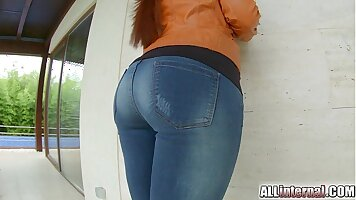 Buxom thing with perfect ass is getting anal penetrated on the couch