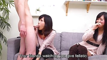Cfnm Japanese youthful cronys reward the loser for a blowjob