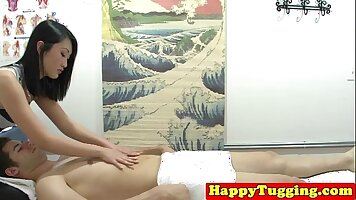 Asian jerkoff time and behind the massage hall