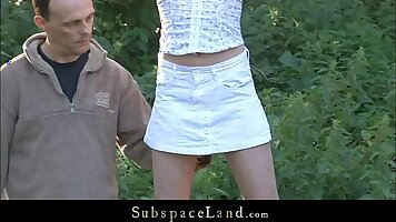 Sexy slave girls getting fucked outdoors